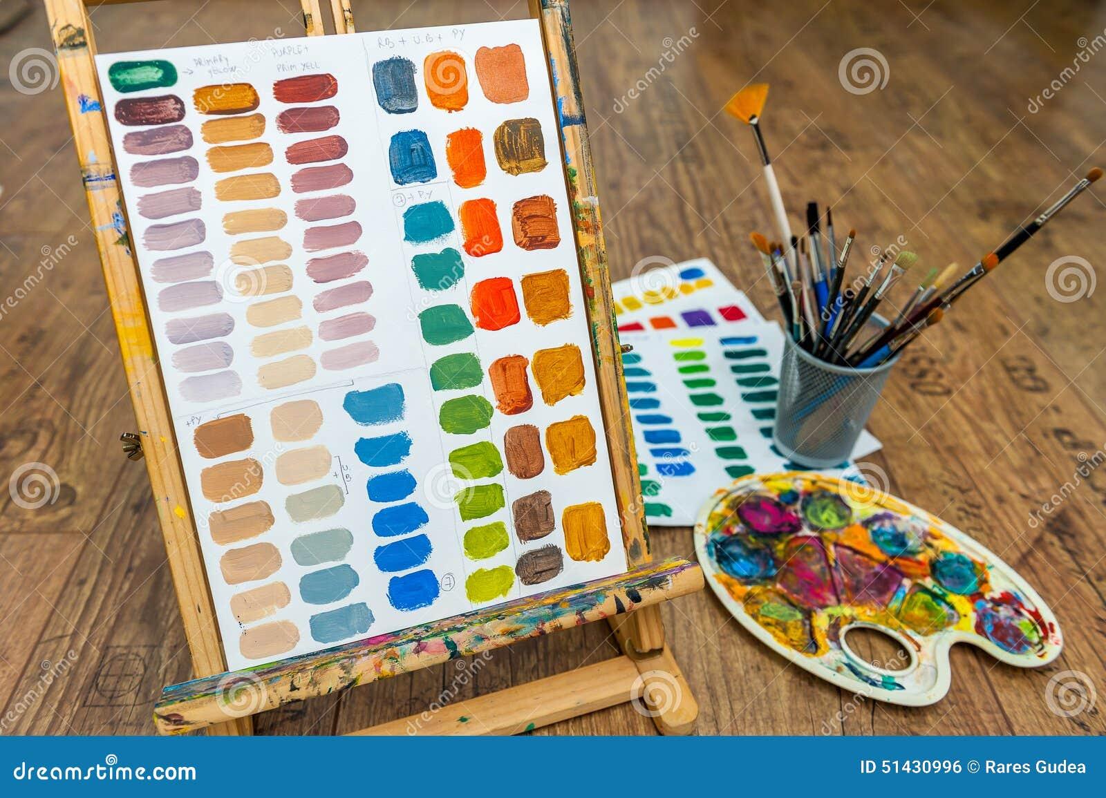 couleurs de m lange d 39 exercice de couleur de peinture avec les brosses et le pallete de chevalet. Black Bedroom Furniture Sets. Home Design Ideas