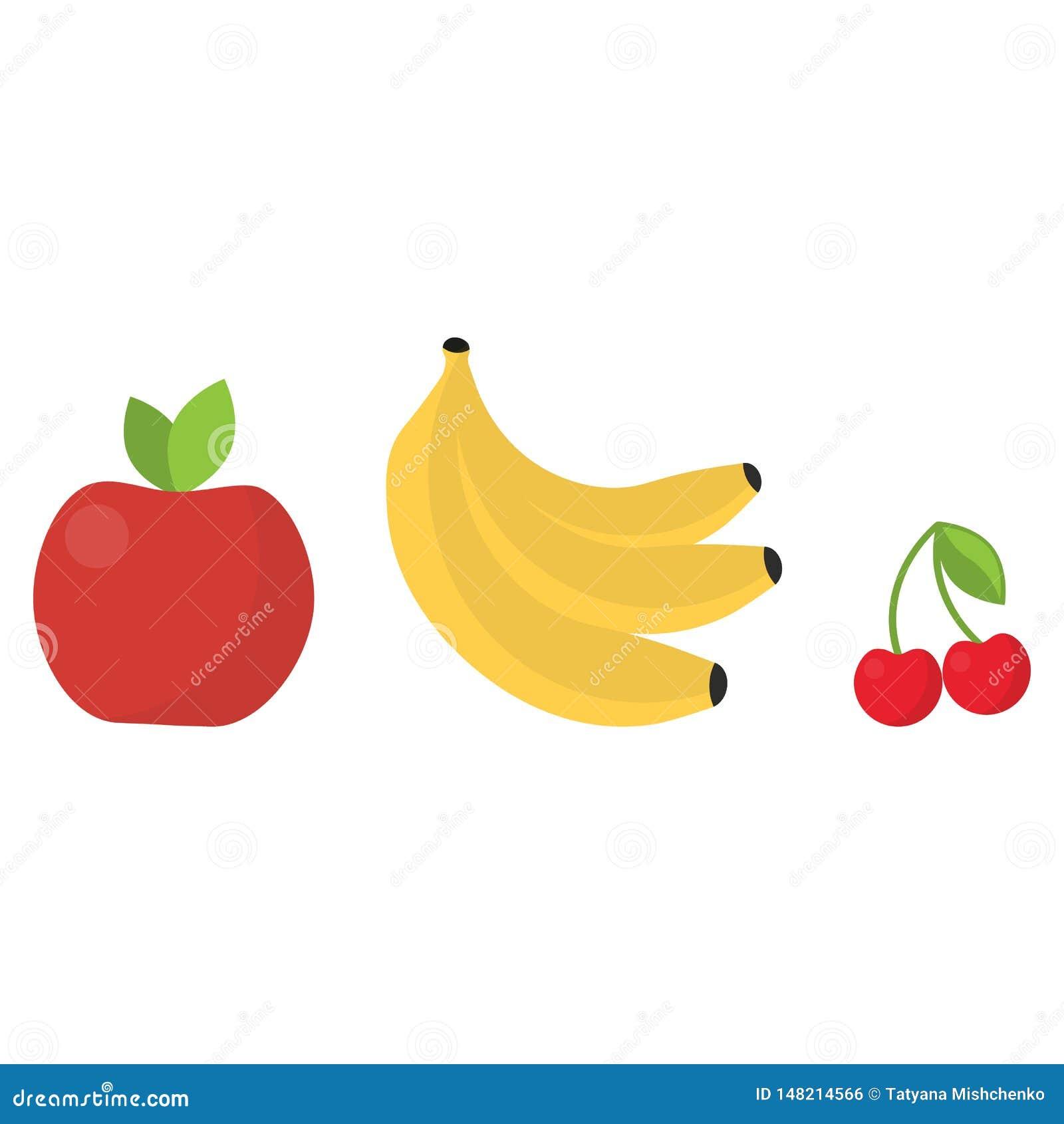 Couleurs lumineuses mignonnes des collections de vecteur de fruits