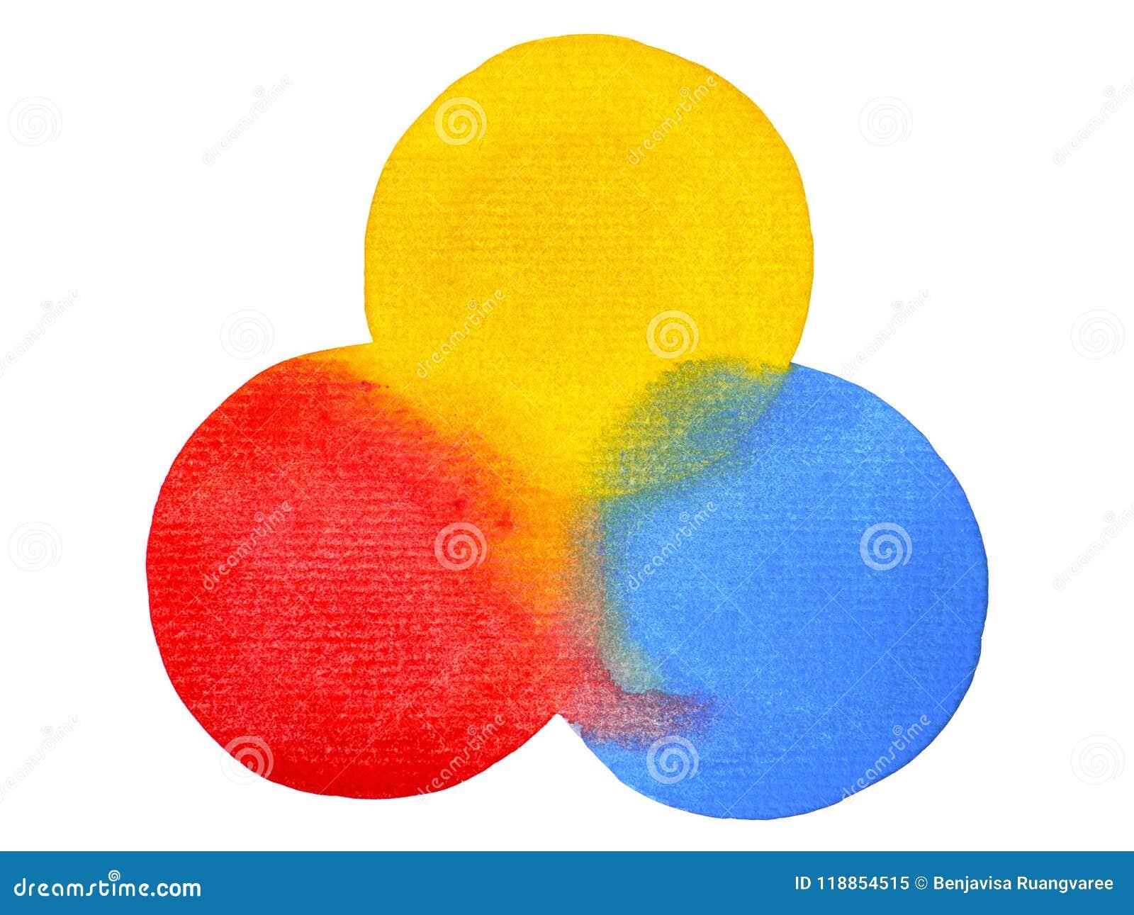 3 Couleurs Primaires, Cercle De Peinture D'aquarelle De Jaune De Rouge Bleu Illustration Stock ...