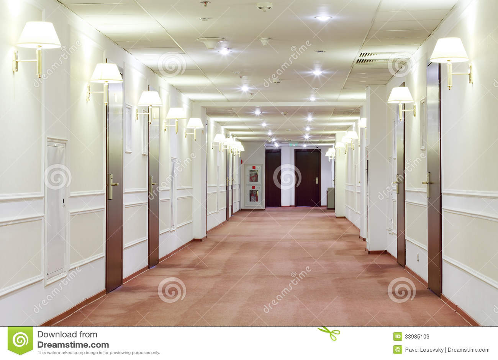 Couloir Avec Beaucoup De Portes Menant Dans Des Chambres D