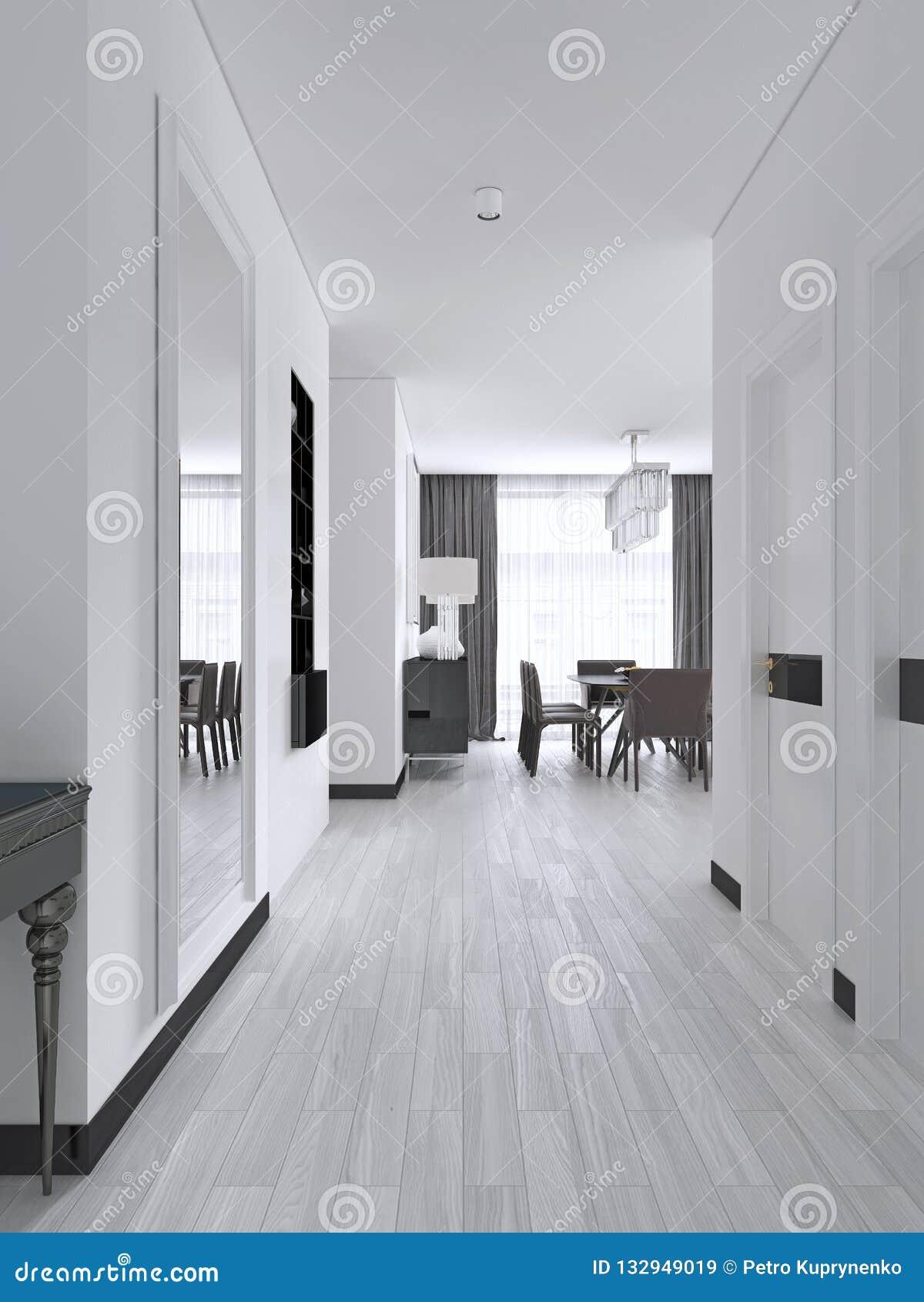 Couloir Blanc Avec Des Portes Et étagères Noires Intégrées ...