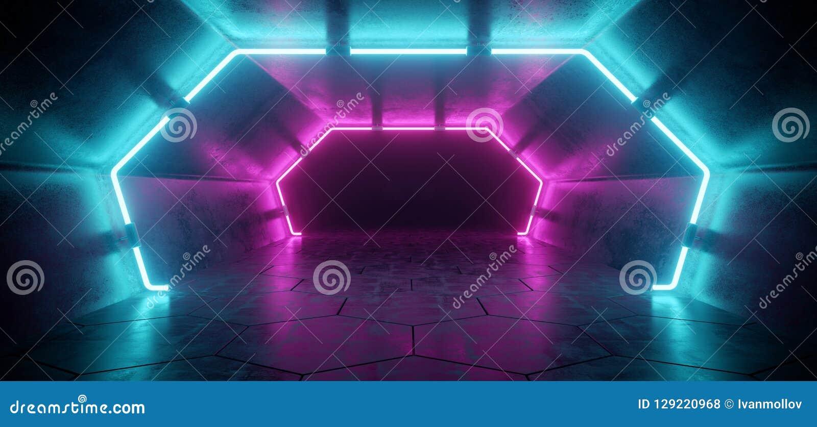 Couloir concret réfléchi étranger futuriste moderne lumineux Tunn