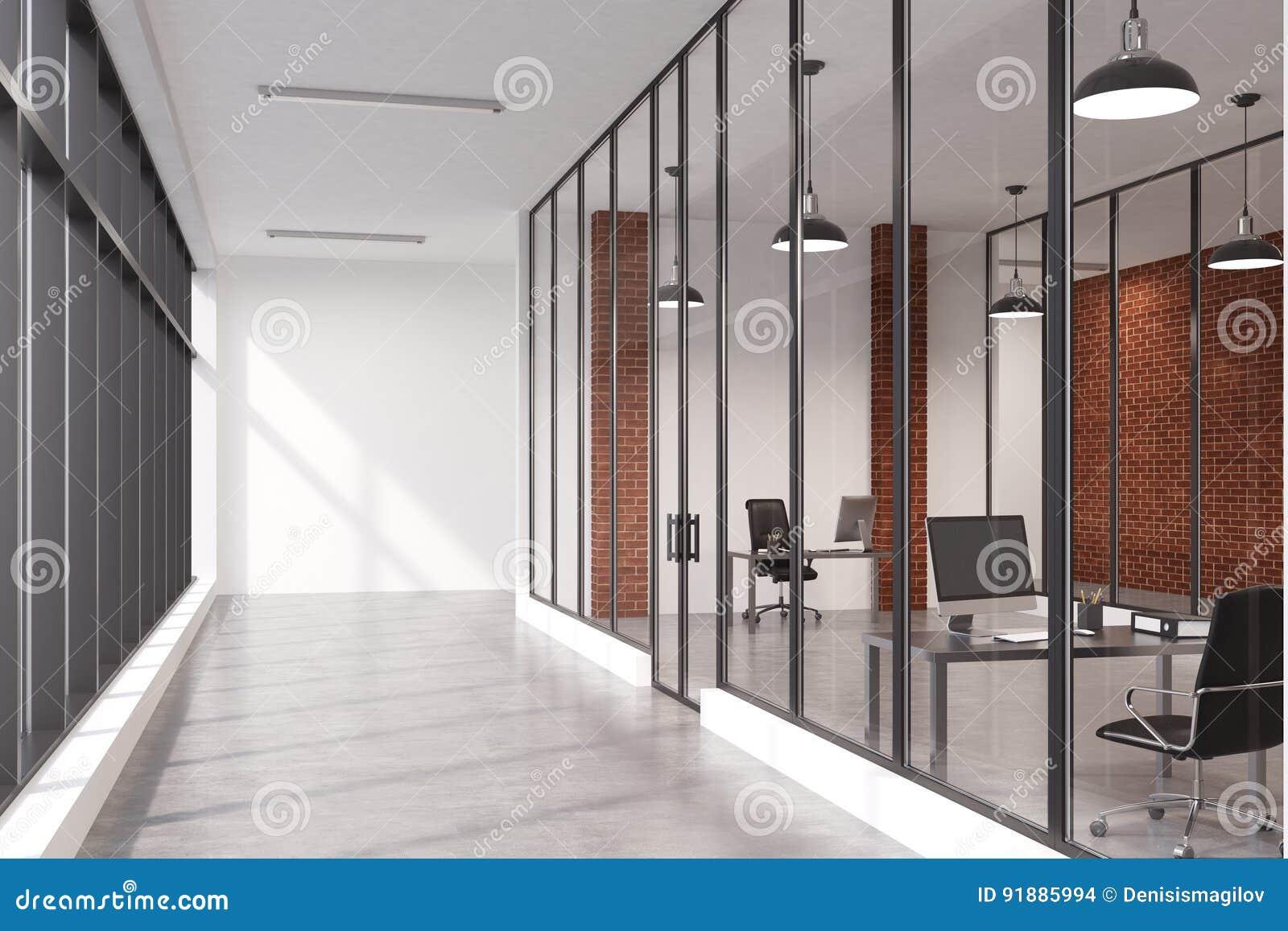 Couloir de bureau de mur de briques illustration stock
