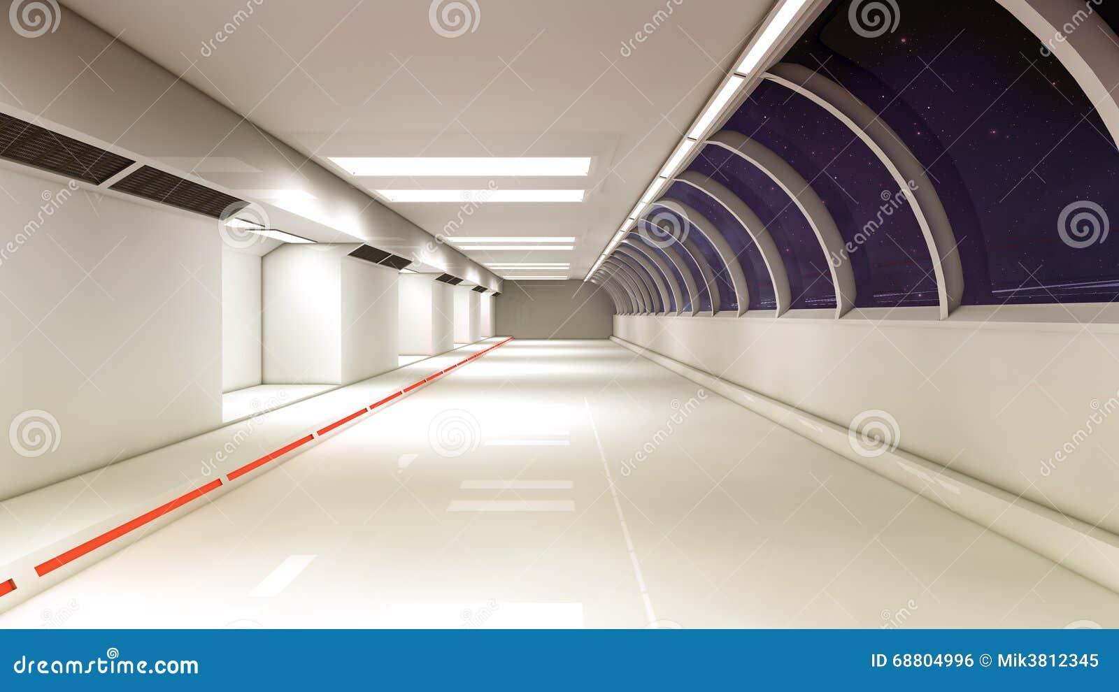 Couloir futuriste d 39 int rieur de vaisseau spatial photo for Interieur vaisseau spatial