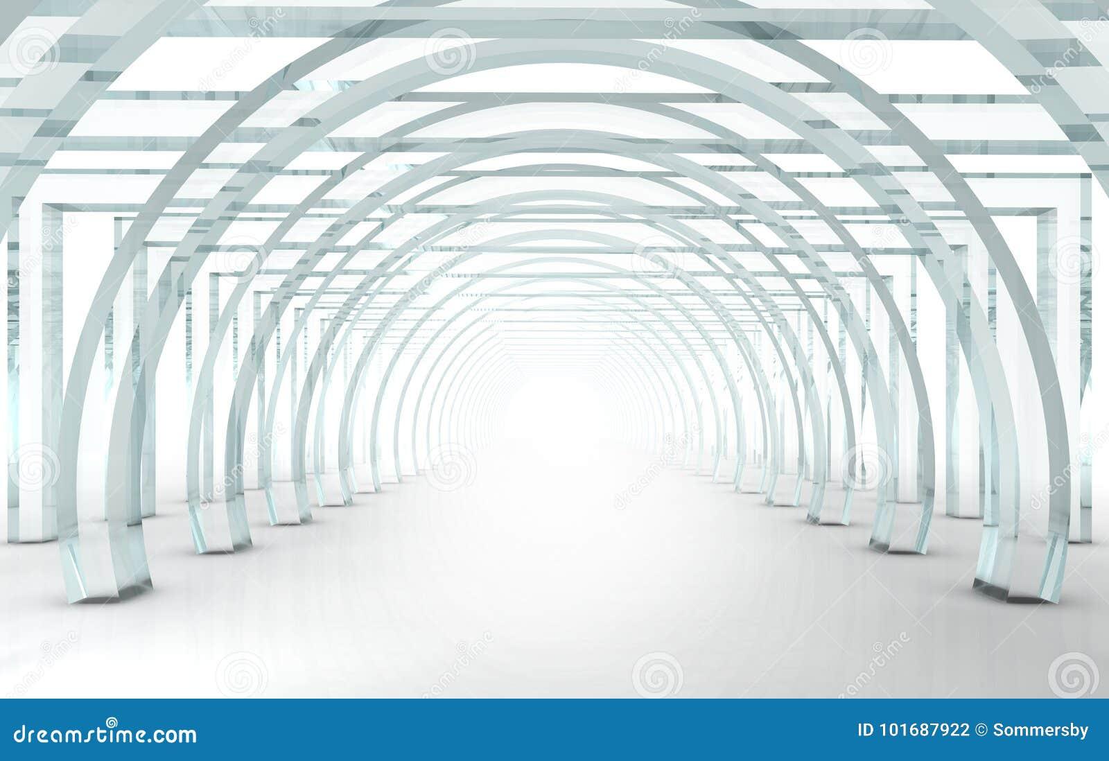 Couloir ou tunnel en verre lumineux dans la perspective