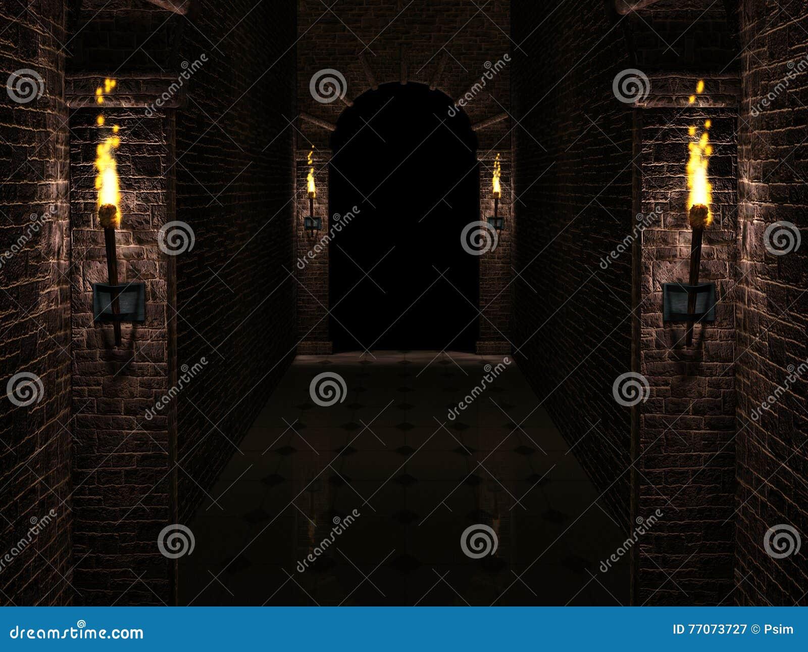 Couloir sombre de ch teau illustration stock image 77073727 - Couloir sombre solution ...
