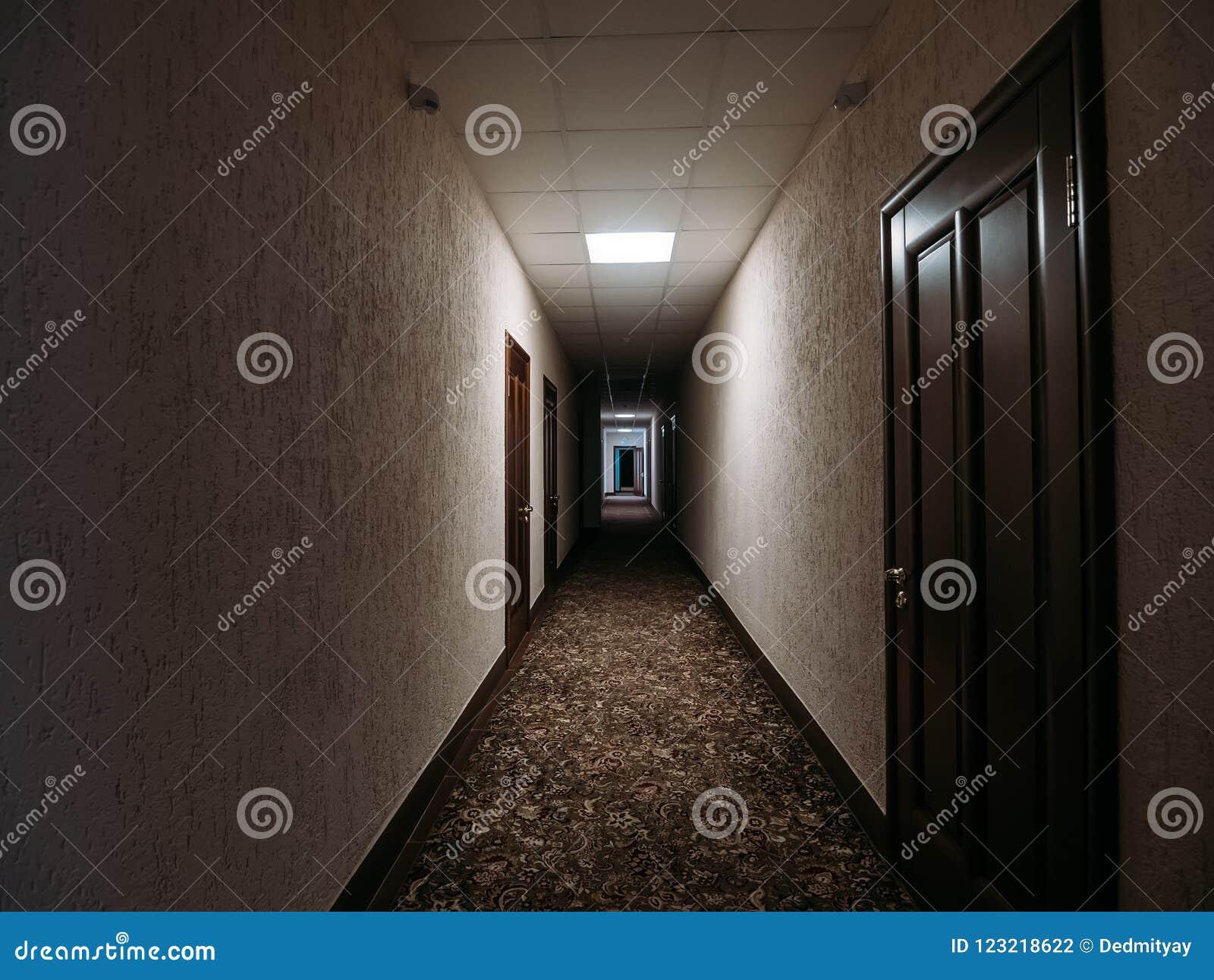 Couloir Sombre Vide Dans L Immeuble Portes Lampes D