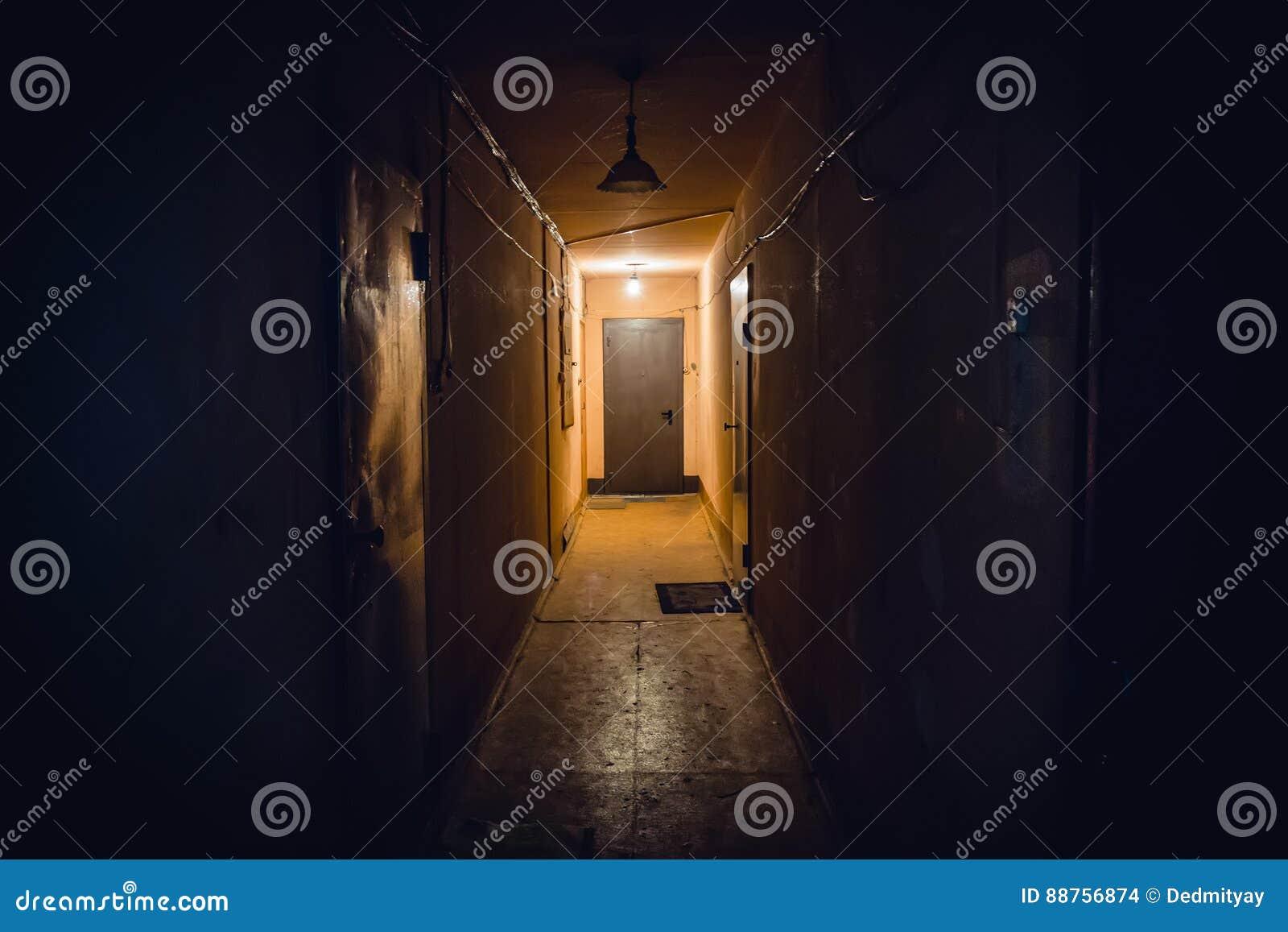 Couloir Sombre Vide Sale Dans L Immeuble Portes Lampes D