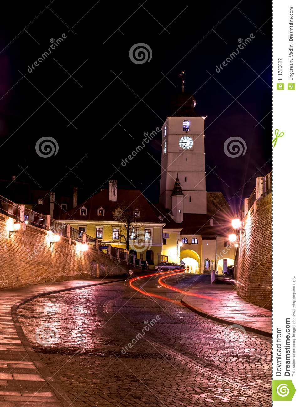 The Council Tower at night in Sibiu, Romania