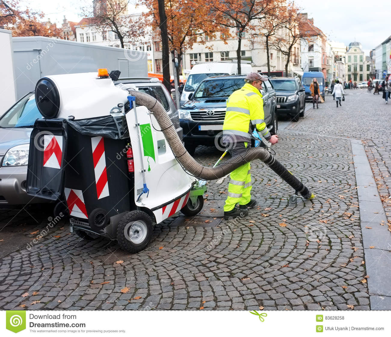 Council Worker Cleaning The Streets Editorial Stock Photo
