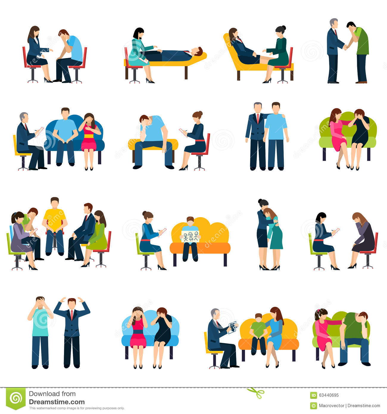 Counseling Support Group Flat Icons Set
