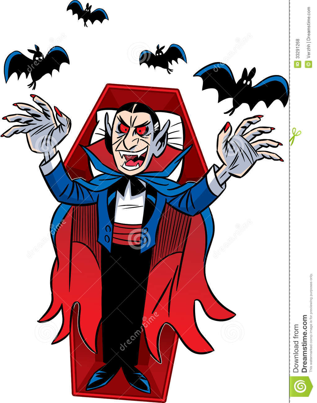 The illustration shows a cartoon Count Dracula for a holiday Halloween ...