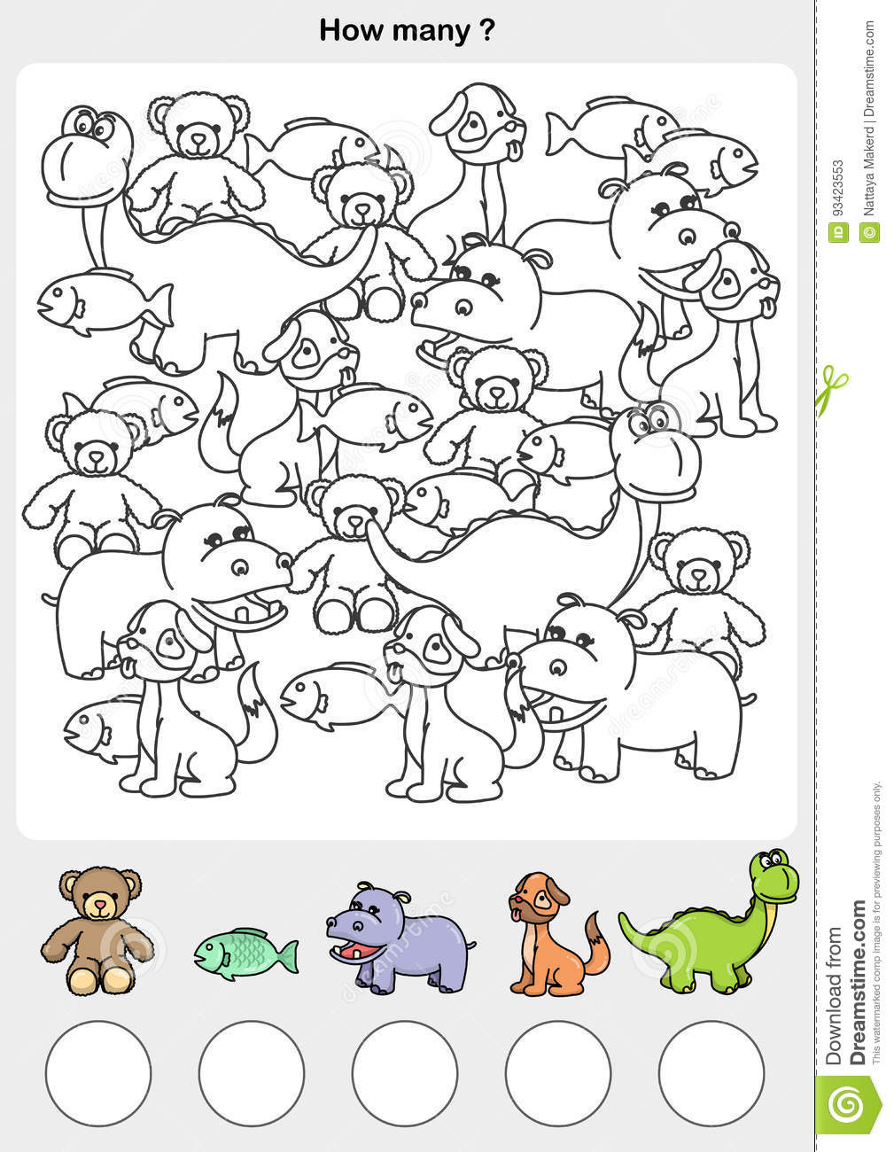 Count And Painting Color The Animals. Stock Vector - Illustration of ...