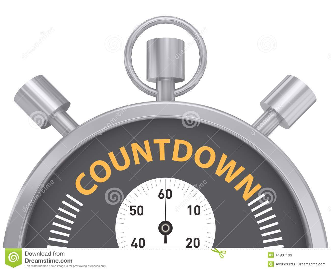 Illustration of a countdown stopwatch isolated on a white background.