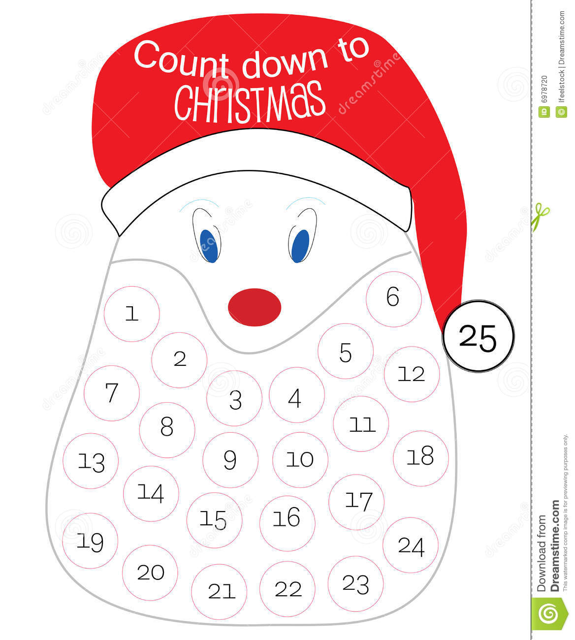 Countdown Till Christmas.Countdown Till Christmas Stock Vector Illustration Of Claus