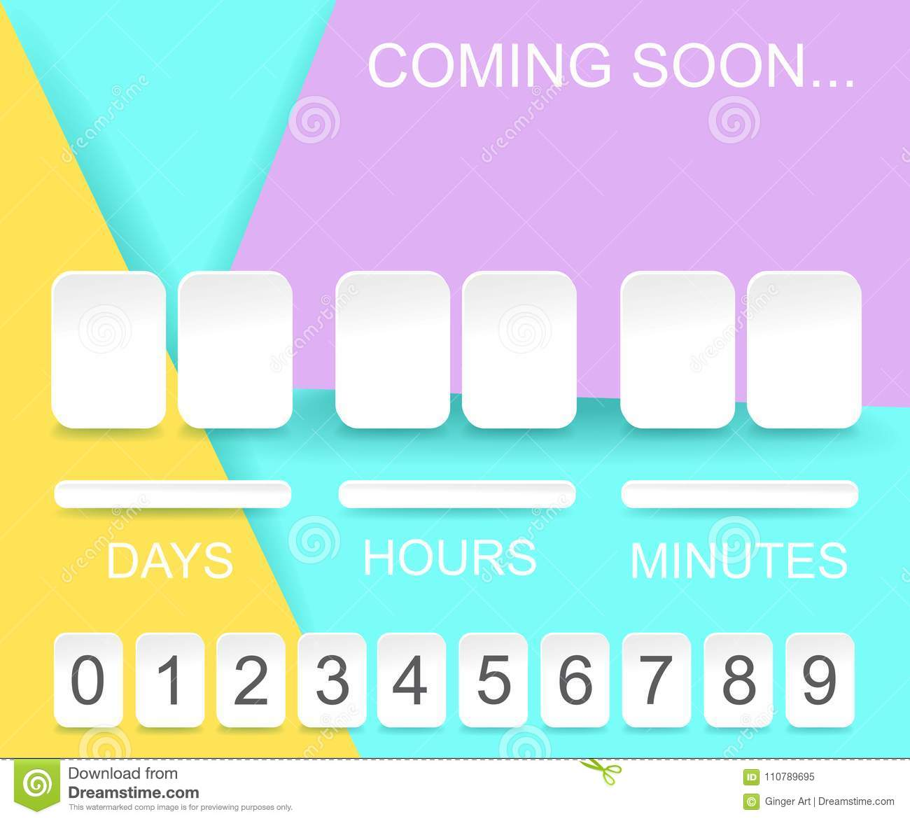 countdown timer template counter design for website with numbers