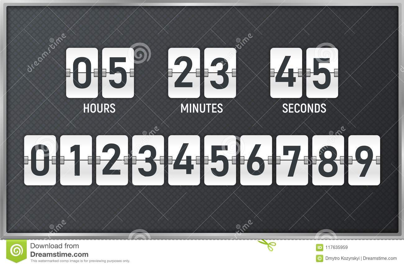 Countdown timer. Time remaining count down flip board with scoreboard of day, hour, minutes and seconds for web page upcoming even