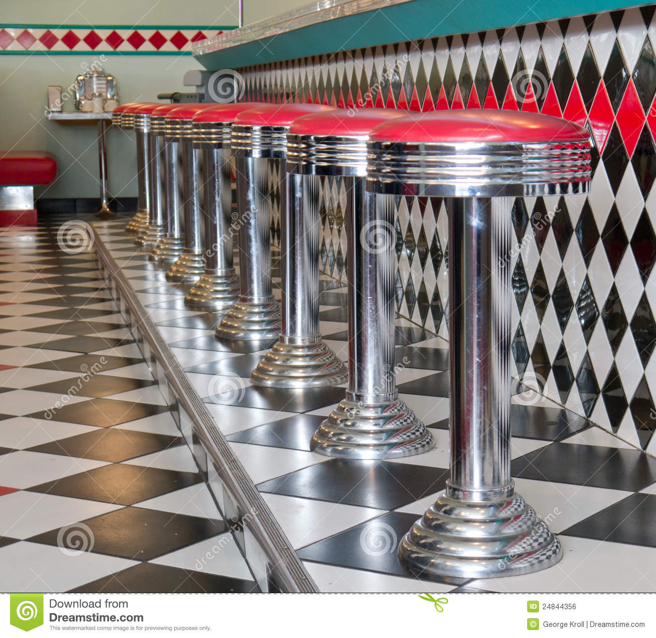 Counter Stools In A Row At A 50 S Style Diner Royalty Free