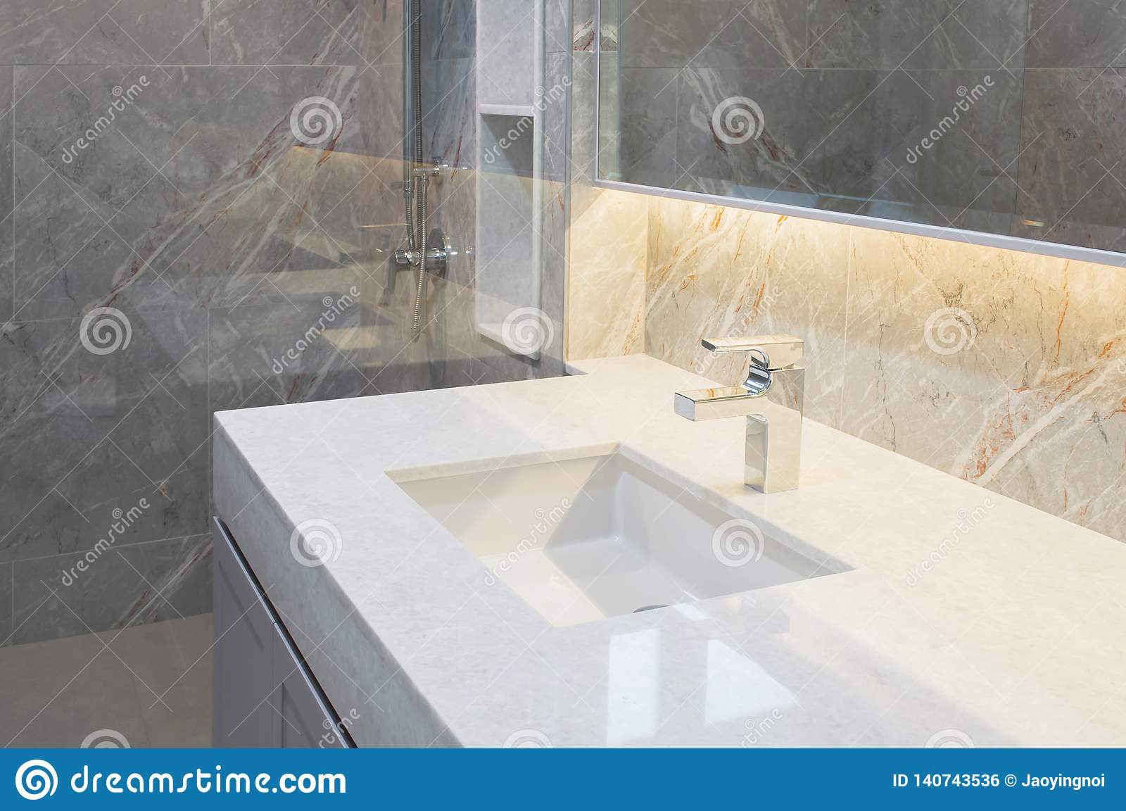 Counter Top White Marble With Washbasin Wall And Floor Beige Grey Marble Stone Interior Design Of Restroom Or Toilet Background Re Stock Photo Image Of Decoration Elegance 140743536