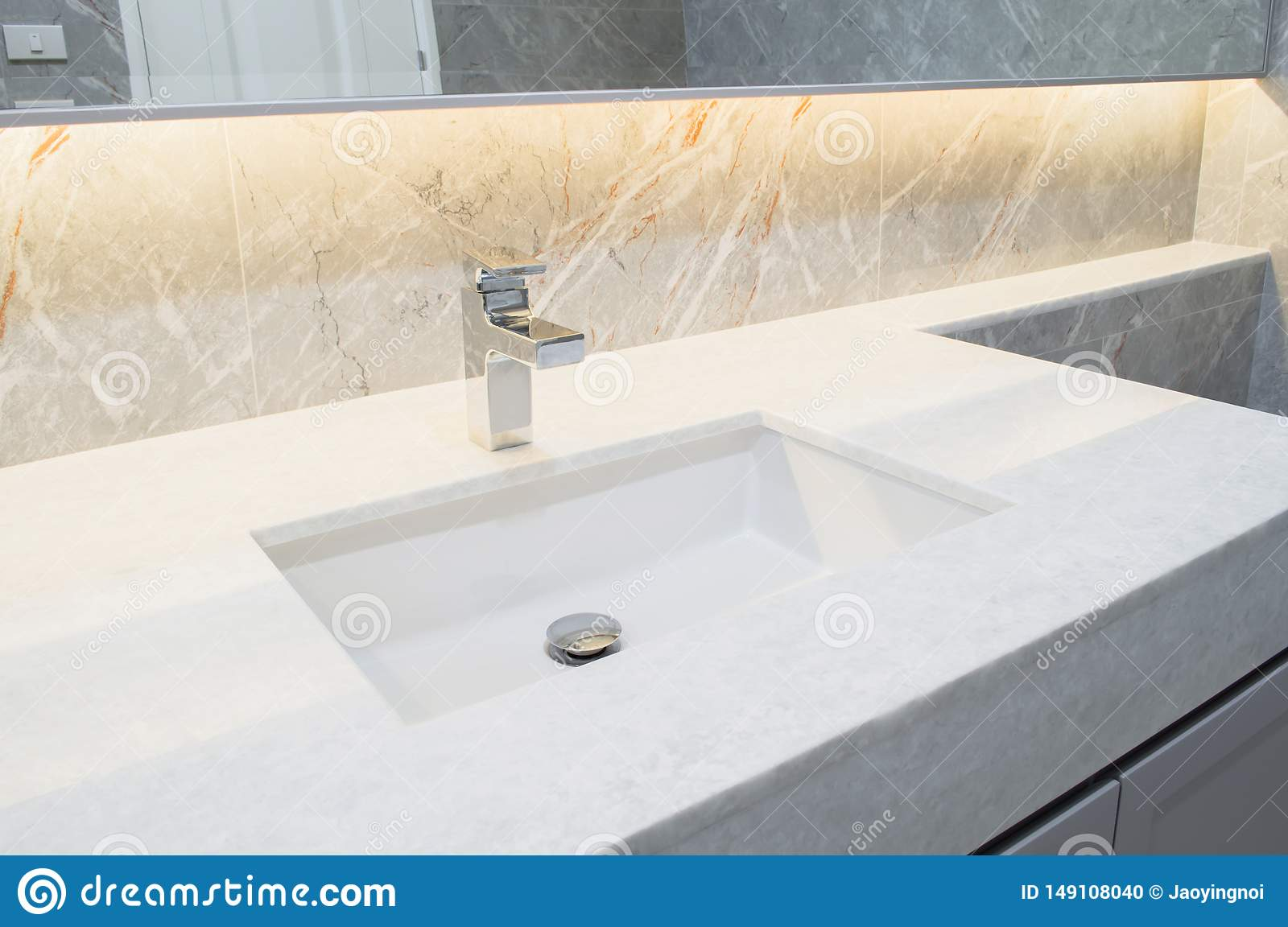 Counter Top White Marble With Washbasin Wall And Floor Beige Grey Marble Stone Interior Design Of Restroom Or Toilet Background Re Stock Photo Image Of Frame Clean 149108040