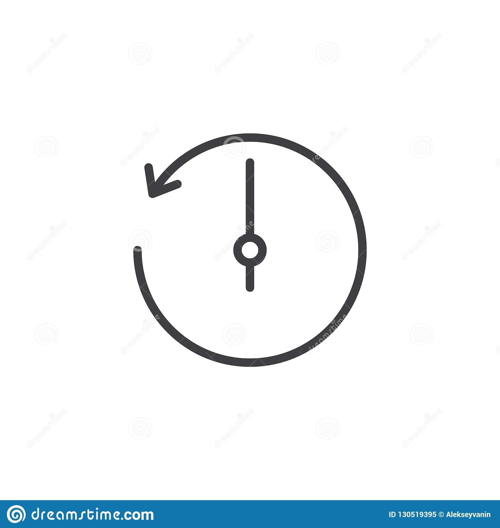 Counterclockwise Rotation Arrow Outline Icon Stock Vector ...