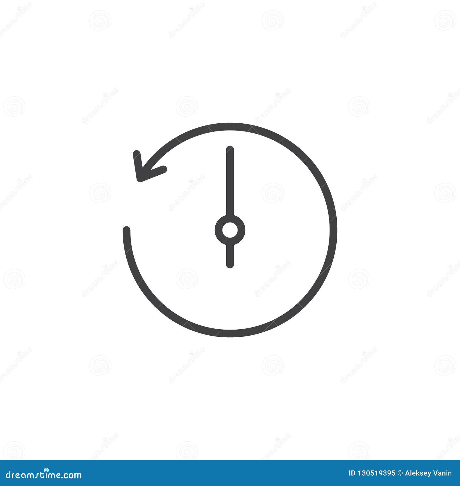 Counterclockwise Rotation Arrow Outline Icon Stock Vector ...