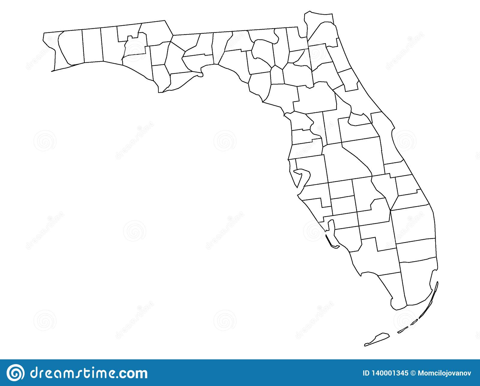 Counties Map Of US State Of Florida Stock Vector - Illustration of ...