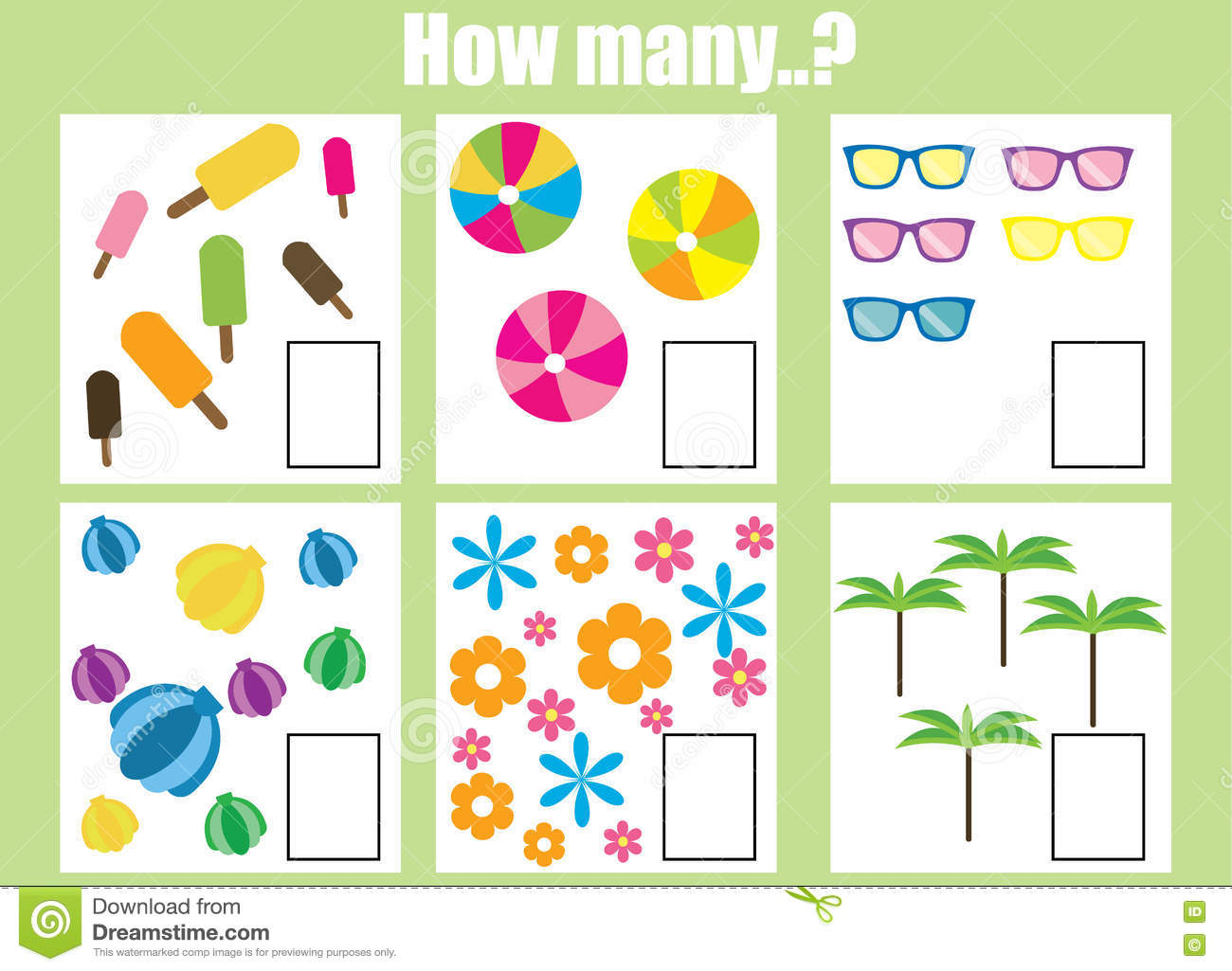 Counting Educational Game For Children. Addition Worksheets Vector Illustration