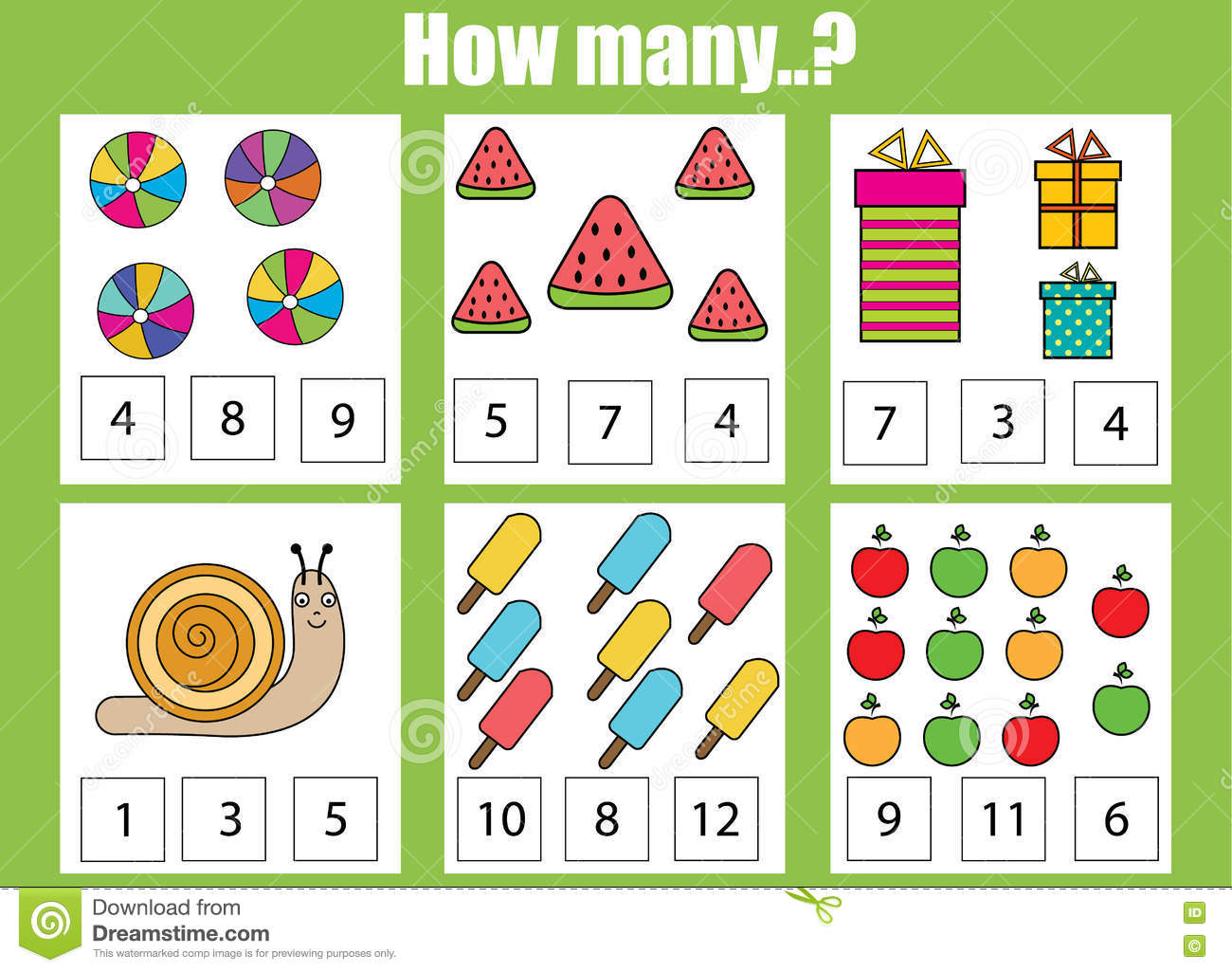 Counting Educational Children Game. How Many Objects Task Stock ...
