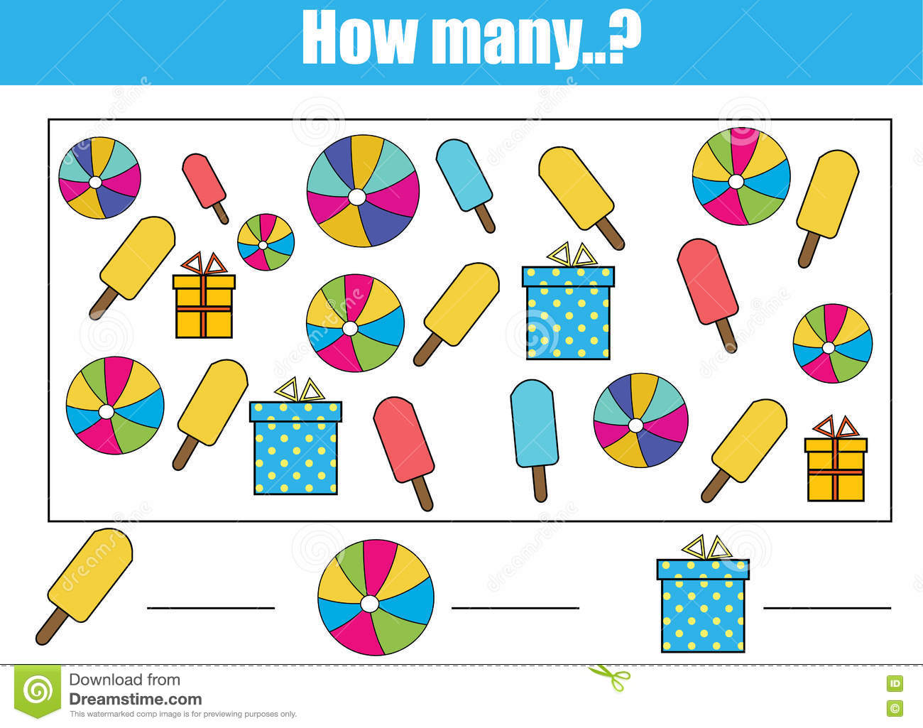Counting Educational Children Game, Kids Activity. How Many Objects Task Stock Vector