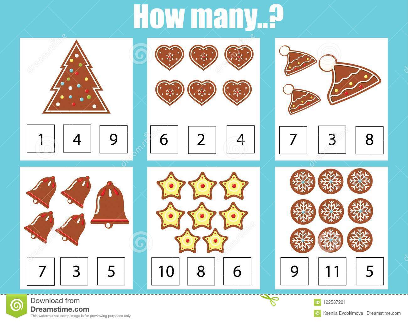 Counting Educational Children Game, Kids Activity. How Many Objects ...