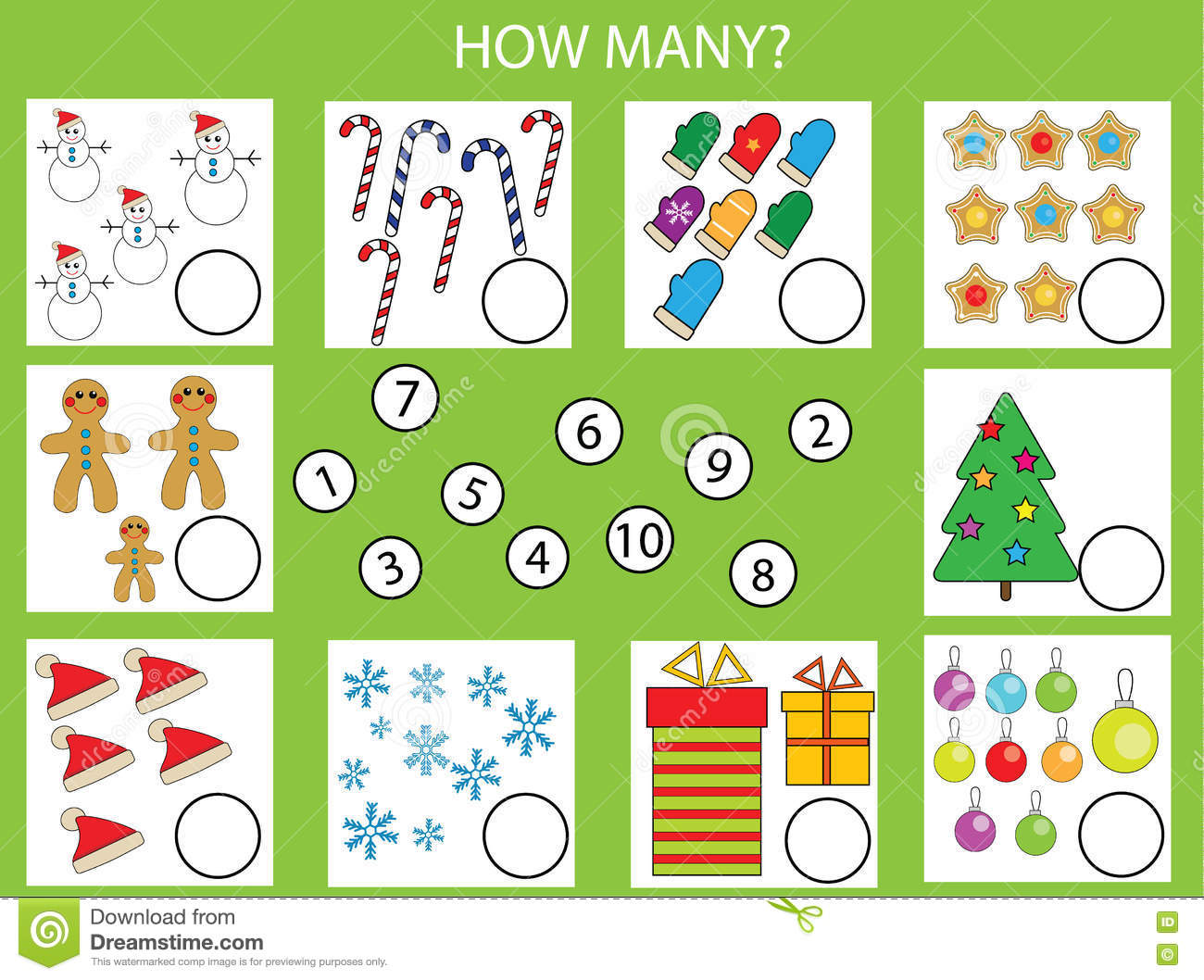 Download Counting Educational Children Game Kids Activity Worksheet How Many Objects Task Christmas