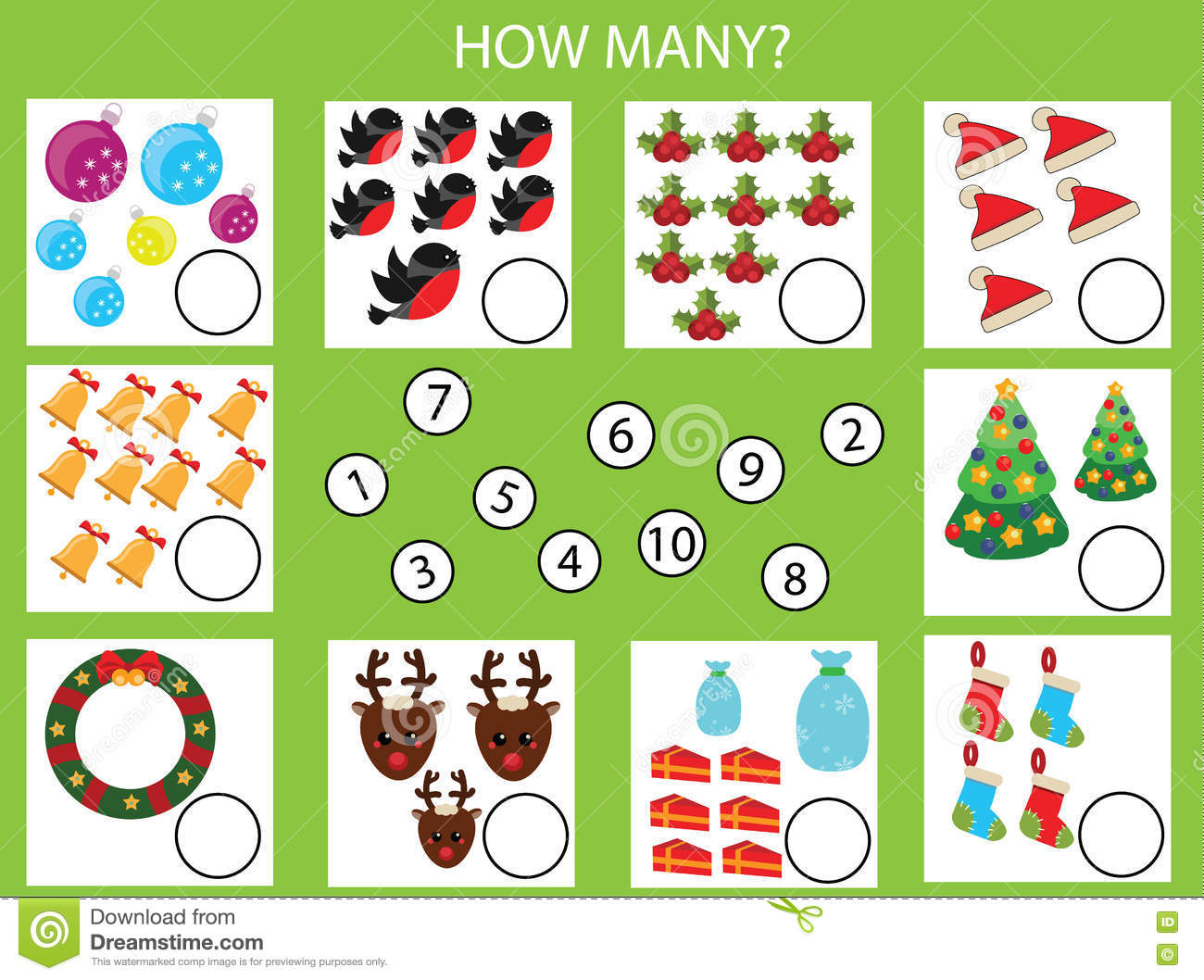 Counting Educational Children Game, Kids Activity Worksheet. How Many Objects Task, Christmas