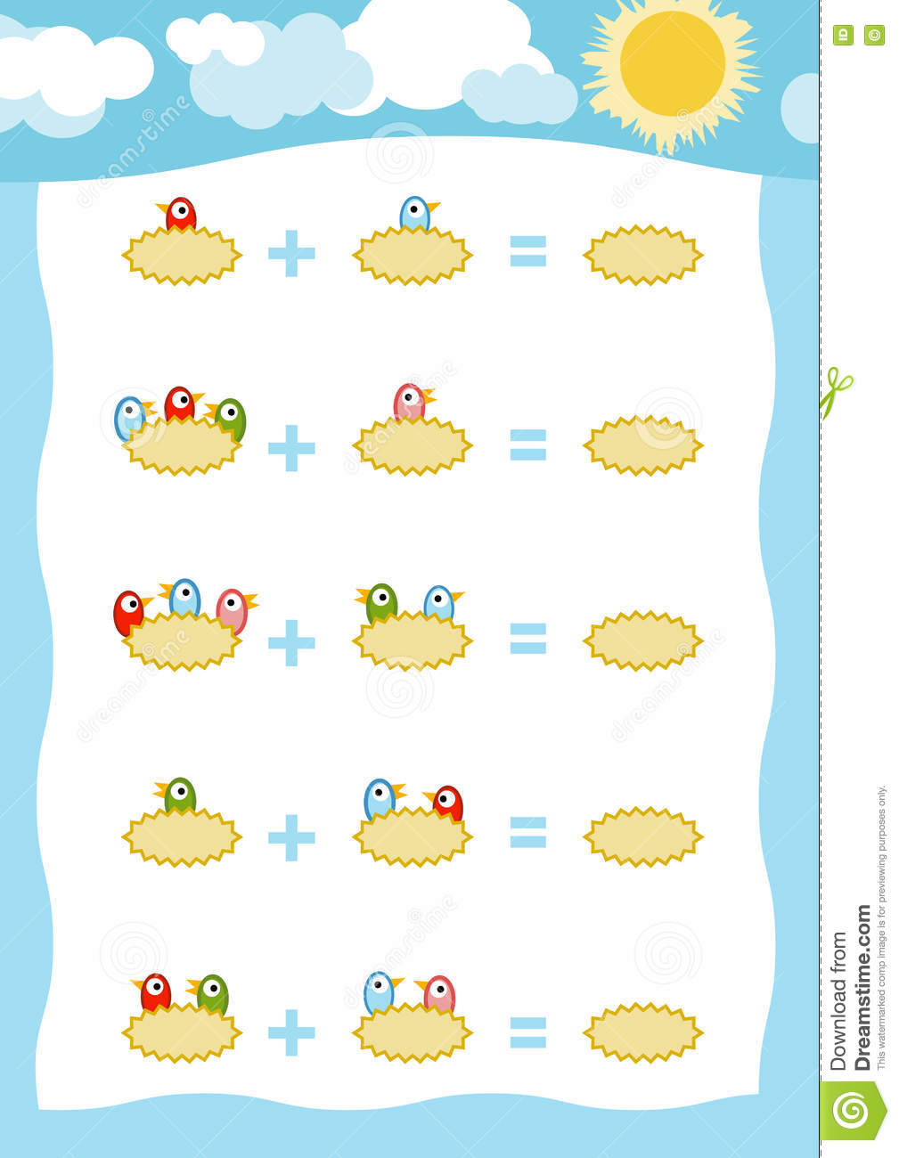Counting Game For Children Addition Worksheets Birds In The Nest – Vector Addition Worksheets