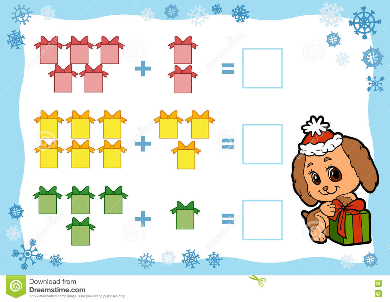 Counting Game For Children. Addition Worksheets. Christmas Gifts ...