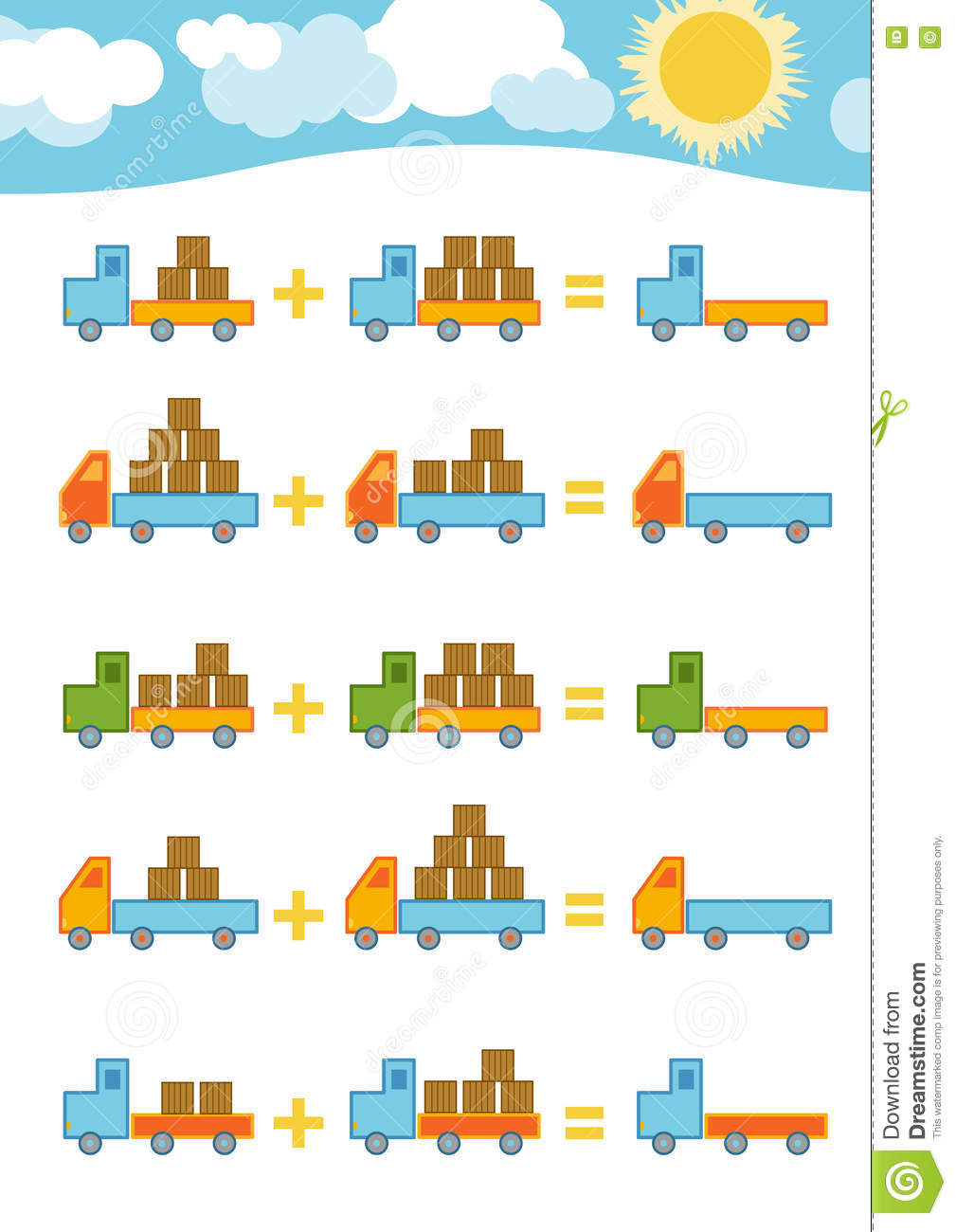 Counting Game For Children. Addition Worksheets Stock Vector ...