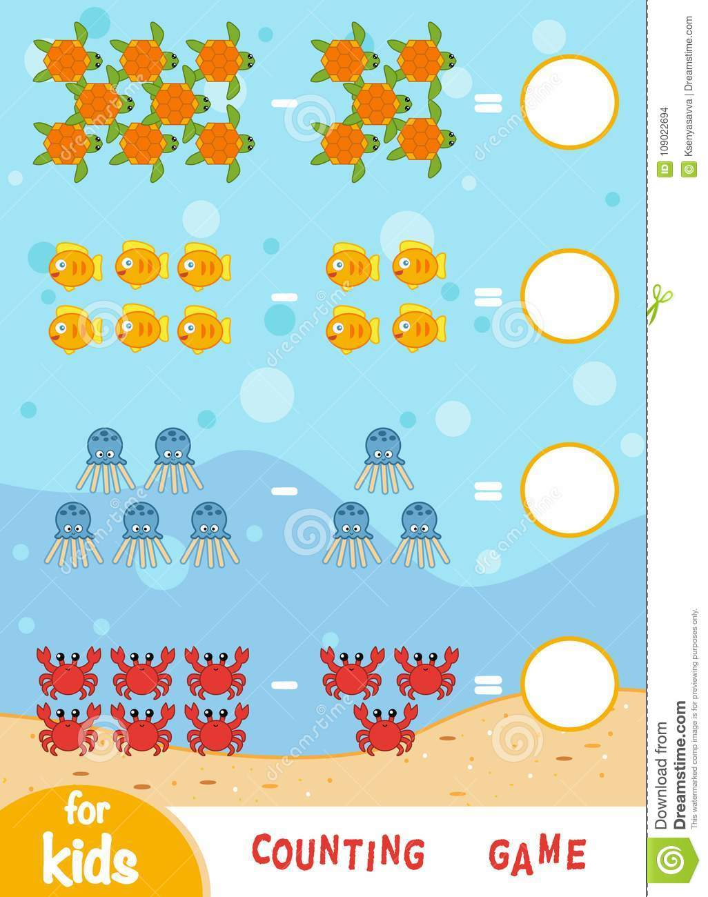 Counting Game For Children. Count The Number Of Sea Animals Stock ...