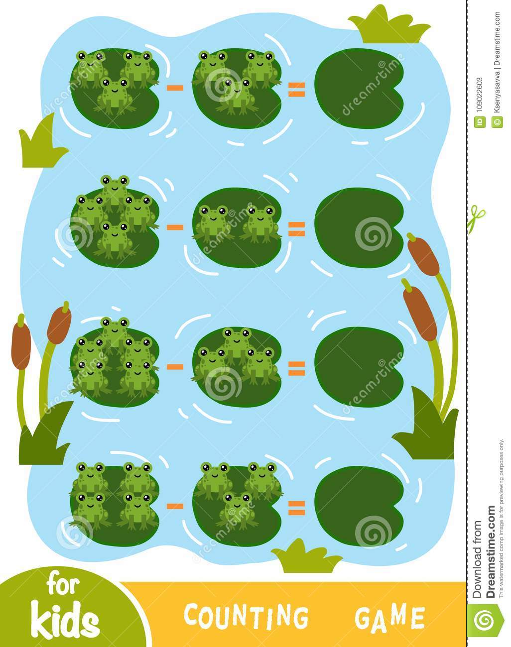 Counting Game For Children. Count The Numbers Of Frogs Stock Vector ...