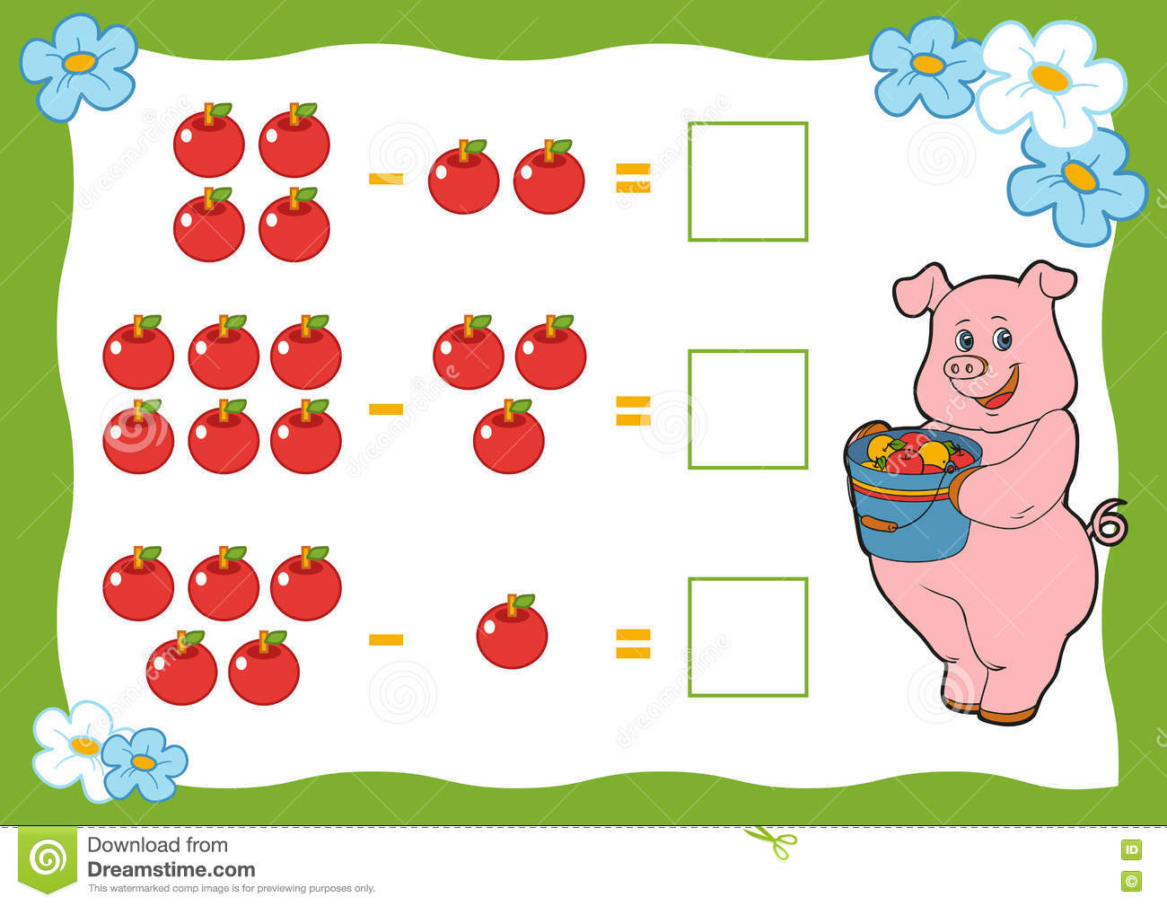 Counting Game for Preschool Children. Subtraction worksheets. Pig and ...