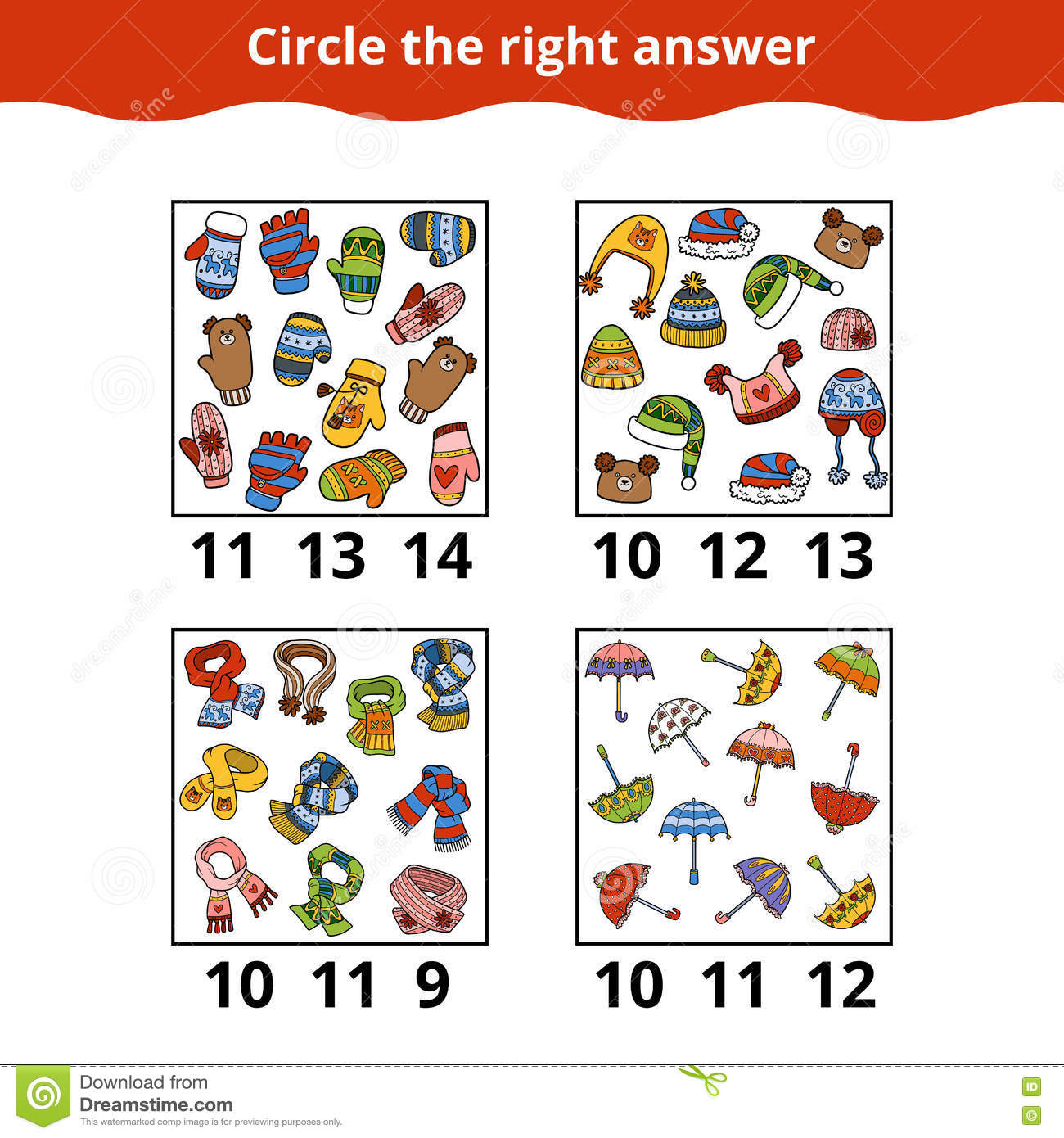 counting game for preschool children about the accessories stock