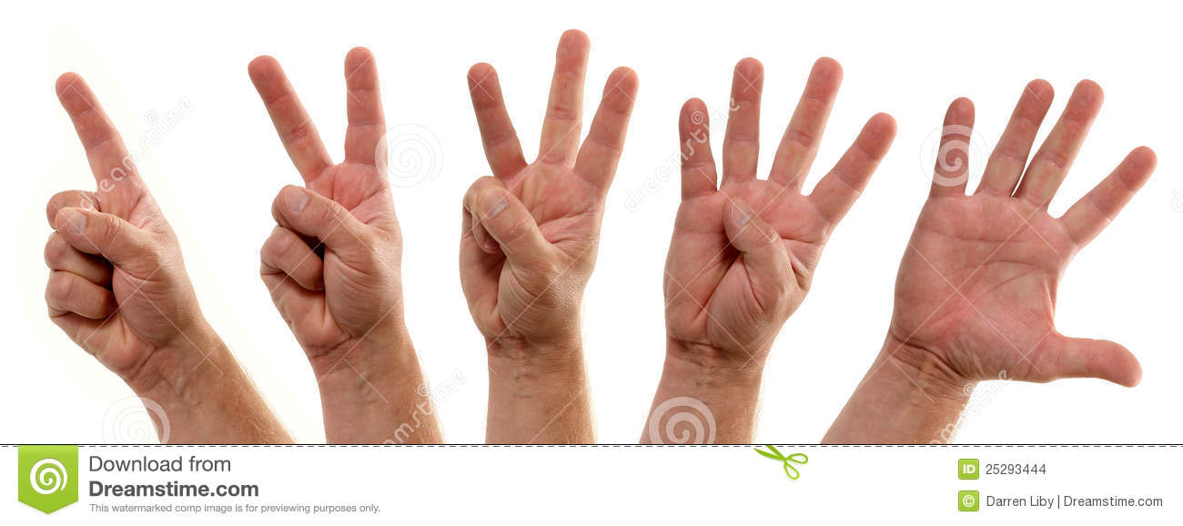 Counting Hands Number One To Five Stock Images Image