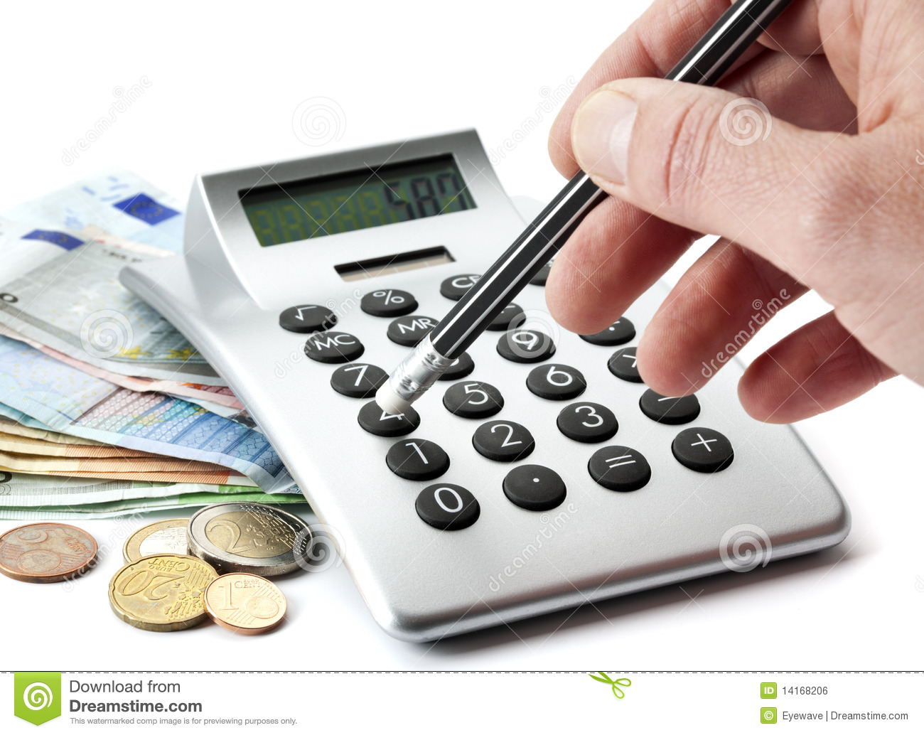 counting money with calculator stock photo