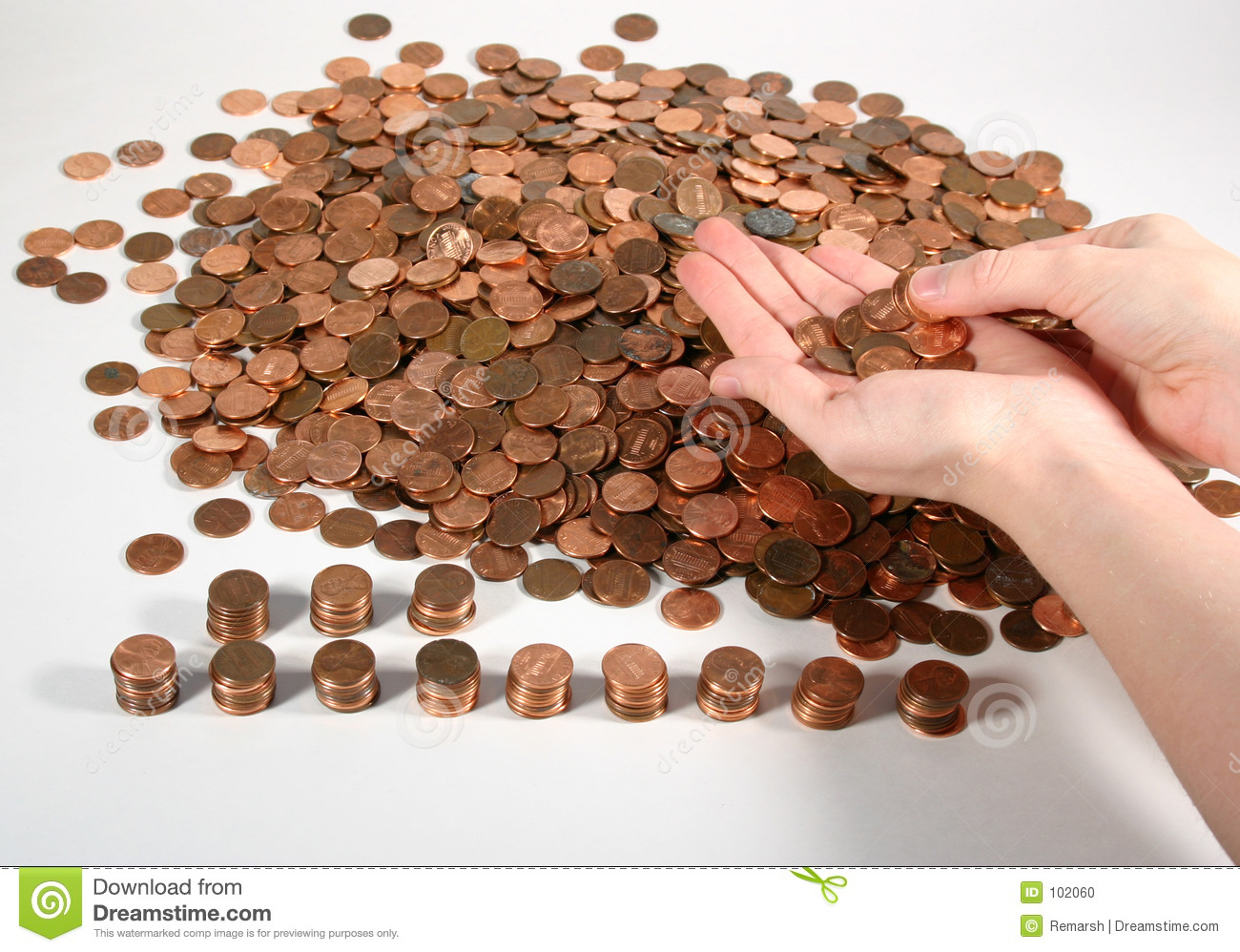 Counting Pennies Stock Photo - Image: 102060