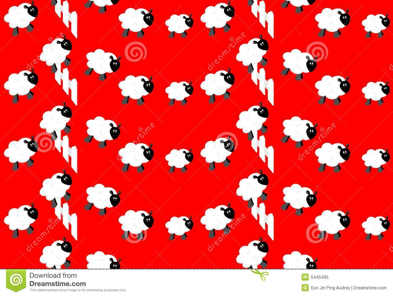 Counting Sheep Wallpaper Stock Vector Illustration Of Fence