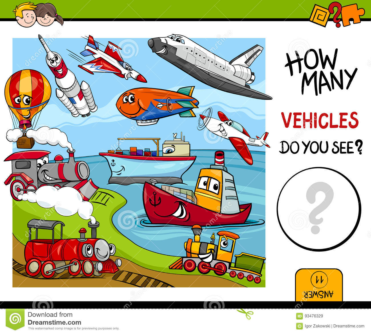 Counting Vehicles Educational Game Stock Vector - Illustration of ...
