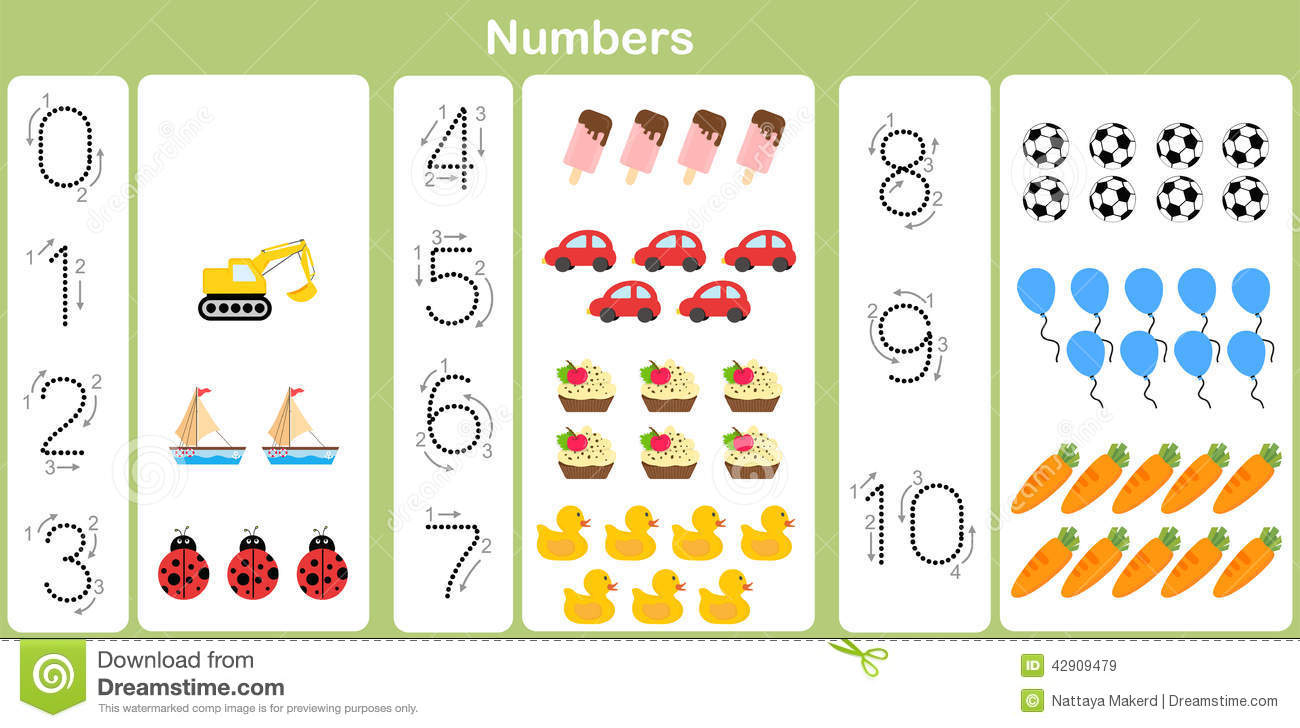 Counting And Writing Numbers To 10 For Kids Stock Vector - Image ...
