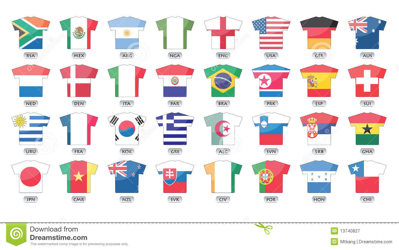 Countries Flags Icons, World Cup 2010 Stock Vector