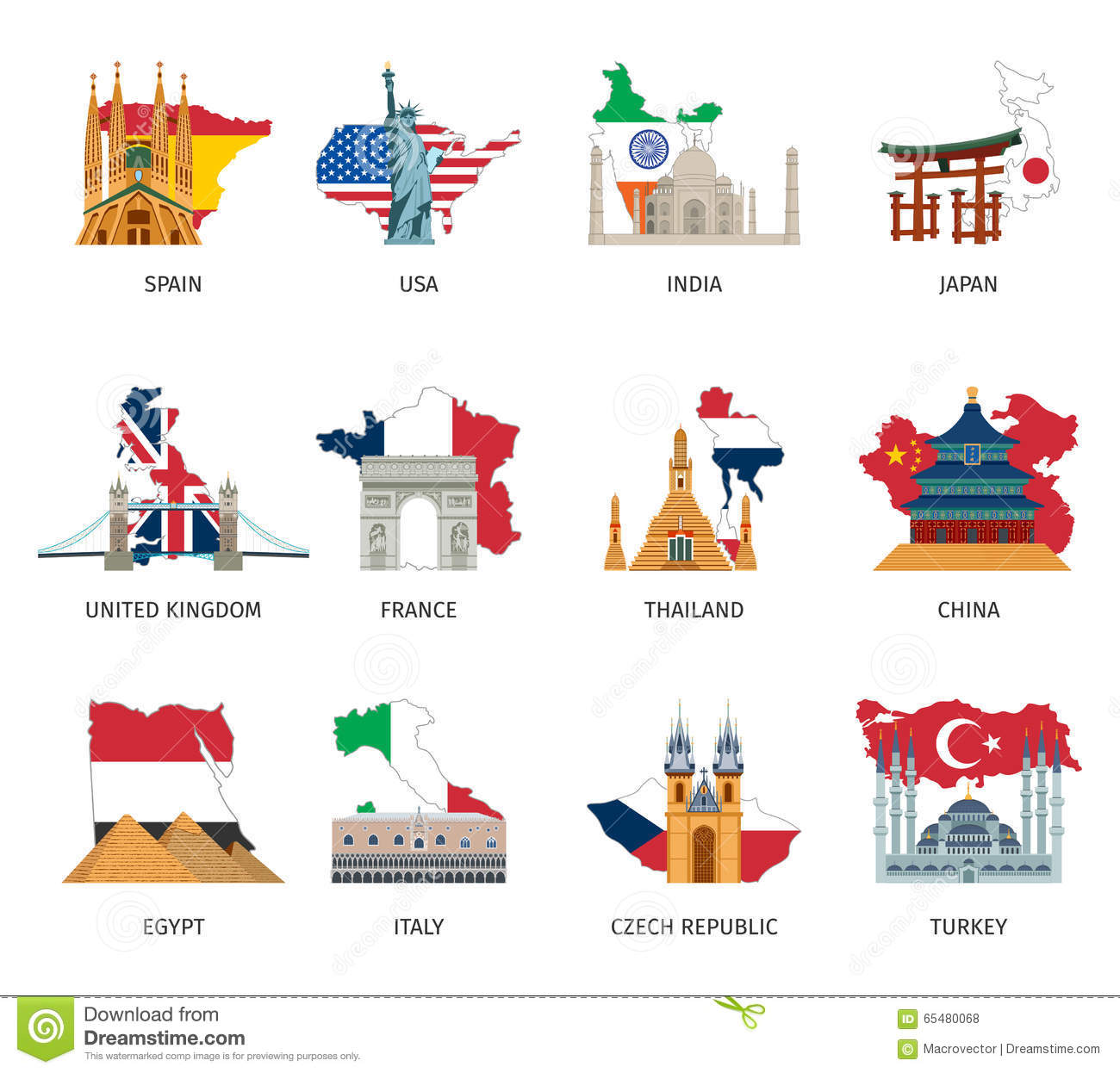 countries flags landmarks flat icons set stock vector
