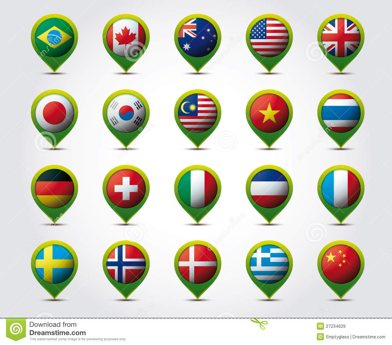 Country 3d Pins With Flags Stock Vector Image Of Background 27234629