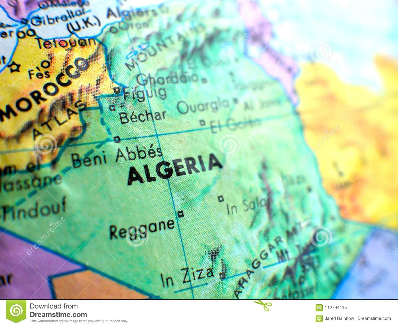 Country Of Algeria Africa Focus Macro Shot On Globe Map For Travel